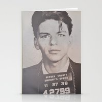frank sinatra Stationery Cards featuring Frank Sinatra Mugshot (Front)  by All Surfaces Design