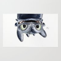 toothless Area & Throw Rugs featuring Toothless (Upside Down) by Luke Jonathon Fielding
