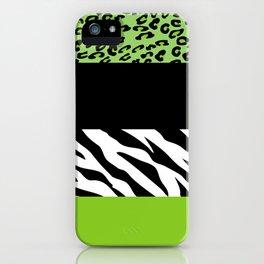 Animal Print, Zebra Stripes, Leopard Spots - Green iPhone Case