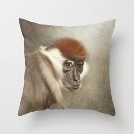 Cherry Crowned Mangabey Throw Pillow