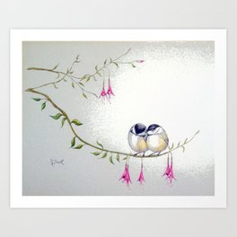 Two Chickadees Art Print