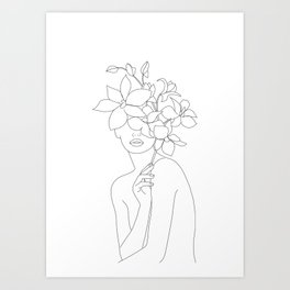 Minimal Line Art Woman with Orchids Art Print