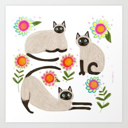 Siamese Cats and flowers Art Print