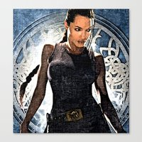 lara croft Canvas Prints featuring Angelina Jolie as Lara Croft by Brian Raggatt