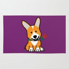 Corgi dog puppy Pembroke Welsh Valentine Rose Rug