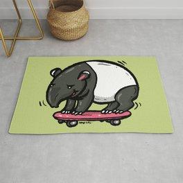 Fat tapir playing surf skate Rug