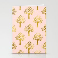 gold foil Stationery Cards featuring Pink Gold Foil 02 by Aloke Design