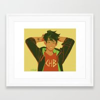 percy jackson Framed Art Prints featuring percy by viria
