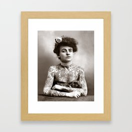 Tattooed Lady, 1907. Vintage Photo Framed Art Print