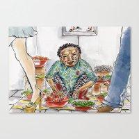 korean Canvas Prints featuring Korean Ajuuma by Obachan Style