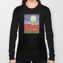 moonlit poppies, fireflies, and snails Long Sleeve T-shirt