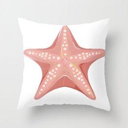 Summer sea day seastar pink modern contemporary art illustration Throw Pillow