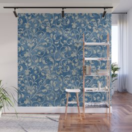 Damask Denim Blue Background with Flowering Vine Floral in Mottled Gray Wall Mural