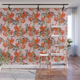 Tigers and Tiger Lilies (Pink Background) Wall Mural