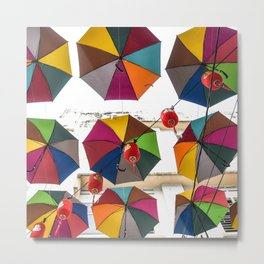 Colorful hanging umbrella Metal Print