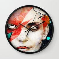 david bowie Wall Clocks featuring Ziggy Stardust/David Bowie by Ed Pires