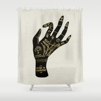 occult Shower Curtains featuring Palmistry by Cat Coquillette