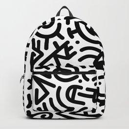 Bold Black Marker Doodle Line Backpack