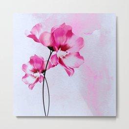 two pinks flowers on watercolors Metal Print