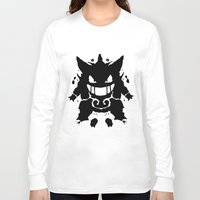gengar Long Sleeve T-shirts featuring Who's That Inkblot?  It's Gengar! by DelverStudios