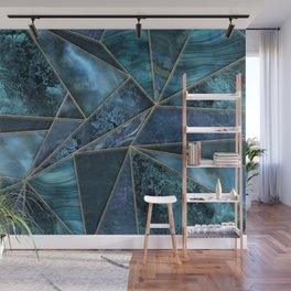 Stained Glass Style Gemstone Marble Blue Green Wall Mural