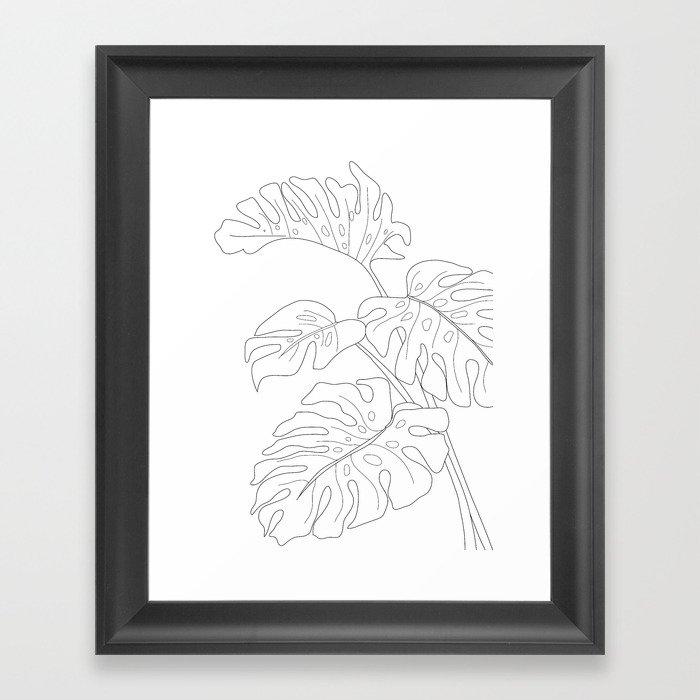 Line Art Monstera Leaves