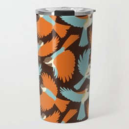 Chickadees in Brown Travel Mug