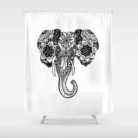 henna Shower Curtains featuring Henna Elephant by Kaitlyn Koehn