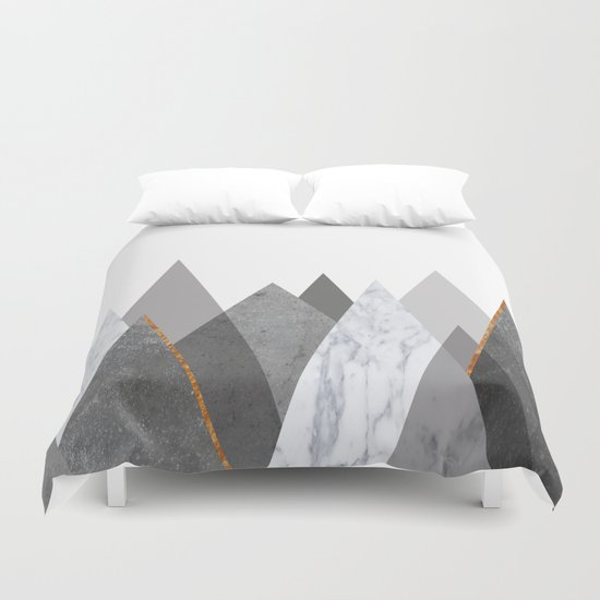 Marble Gray Copper Black And White Mountains Duvet Cover