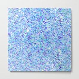 Blue Floral Watercolor Metal Print