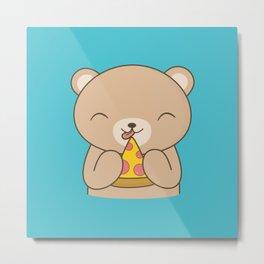 Kawaii Cute Pizza Bear Metal Print