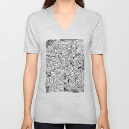 Lots of Bodies Doodle in Black and White Unisex V-Neck