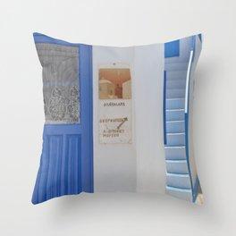 Blue Door - Milos - Landscape and Rural Art Photography Throw Pillow