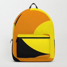 Two suns, one yellow with orange rays,the other orange with yellow rays,both floating in a black sky Backpack