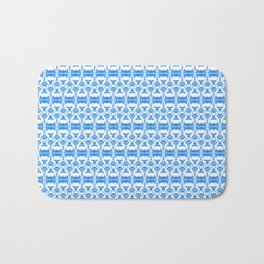 Dividers 02 in Blue over White Bath Mat