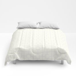 Ivory White Square Chain Pattern Comforters