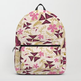 Purple Shamrock Floral Layered Pattern / Cream Backpack