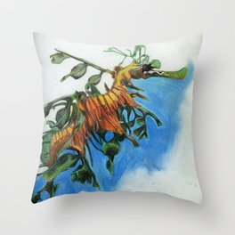 Study of a Leafy Water Dragon Throw Pillow