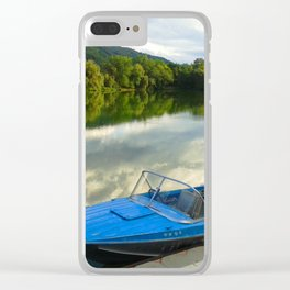 Motor boat on the lake Clear iPhone Case