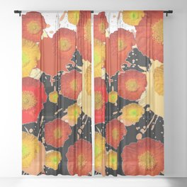 PAINTING ORANGE POPPIES BLACK-WHITE ART Sheer Curtain