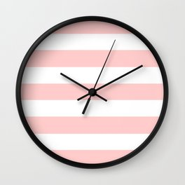 Light red - solid color - white stripes pattern Wall Clock