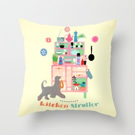 Kitchen Stroller Throw Pillow