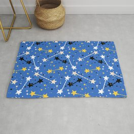 Fun ditsy print with night sky and constellations Rug