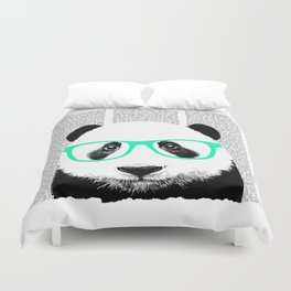 Panda with teal glasses Duvet Cover