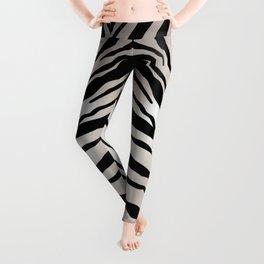 Safari Striped Zebra Pattern, Animal Print, Black, White, Gray Leggings
