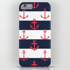 Red White and Blue Anchor Pattern iPhone 6 Plus Slim Case