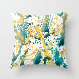 Teal and Gold Splatter Paint  Throw Pillow