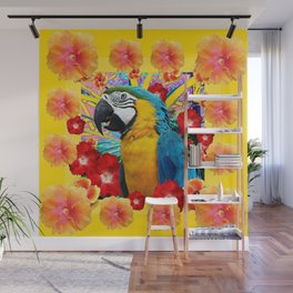Tropical Blue Macaw Parrot & Hibiscus Flowers Wall Mural