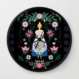 Folk Art Forest Fairy Tale Fraulein Wall Clock
