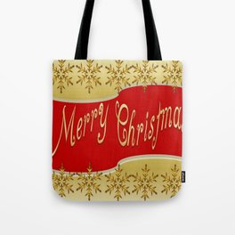 Red Merry Christmas Banner On Gold With Snowflakes  Tote Bag